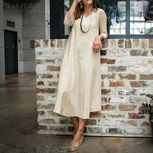 ZANZEA Women Casual Loose Maxi Sundress Summer Kaftan Dress Fashion Long Pockets Dresses Loose Solid V Neck Vintage Vestido 5XL(China)