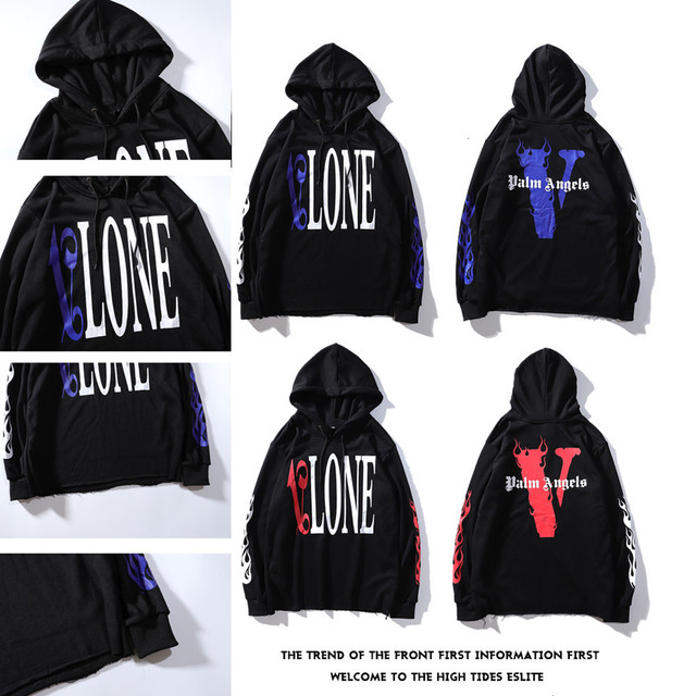 Europe And America Fashion Street Edison Large V Printed Hoodie Men And Women Vlone Hoodie Couples plus Velvet Jacket Fashion