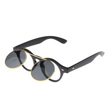 Fashionable Vintage Steampunk Goggles Goth Retro Flip Up Round Sunglasses Cosplay Prop Matte Black Frame Color