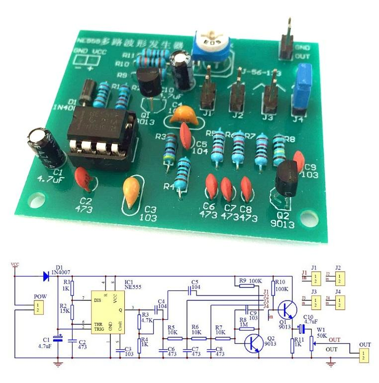 DC 6-12V NE555 Pulse Generator Module Sine/Triangle/Square Wave Generator Multi-channel Waveform Signal Generator DIY Kit