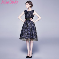 LUKAXSIKAX 2020 New Spring Summer Women Sleeveless Dress High Quality Gold Line Organza Dress Elegant Slim Vintage Dress