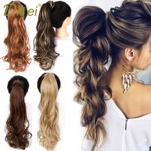 DIFEI, длинный волнистый шиньон конский хвост из натуральных волос, заколка в конский хвост, волосы для наращивания, обмотка вокруг синтетических волос для женщин