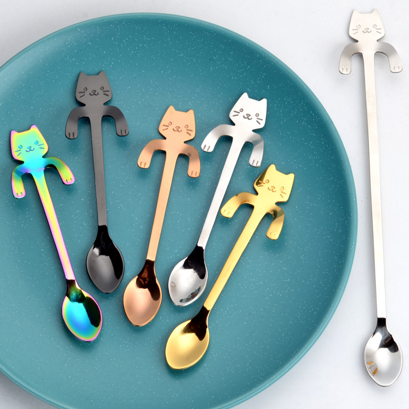 Cute Cat Coffee Spoon Stainless Steel Creative Cat Spoon Teaspoon Dessert Snack Scoop Ice Cream Mini Mug Tea Cup Spoon Tableware