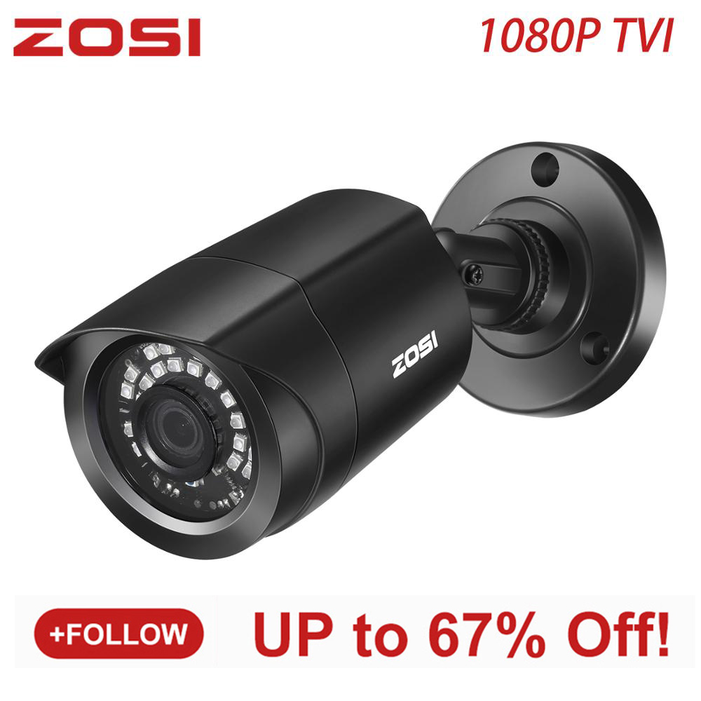 ZOSI 1080P TVI 3.6mm CCTV Waterproof Video Surveillance House Camera 24 Led Nightvision Support TVI Hybrid DVR BNC Connection