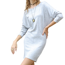 Knitted Sweater Dress Women Autumn Round Neck Sexy Bodycon Dresses Long Sleeve Party Mini Dress Loose Female Vestidos Hot Sale new fashion 2018 spring women lace dress elegnt black dress vestidos long sleeve knitted dresses female outwear hot sale lx19