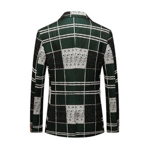 Image 2 - Shenrun Men Blazers Green Cotton Youth Fashion Jackets Check Casual Blazer Slim Fit Costumes Singer Host Party Prom Suit Jacket