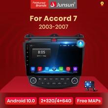 Junsun V1 AI Voice Control Android 10 4G Car Radio Multimedia Player For Honda Accord 7 2003-2007 Navigation Auto 2 din no dvd