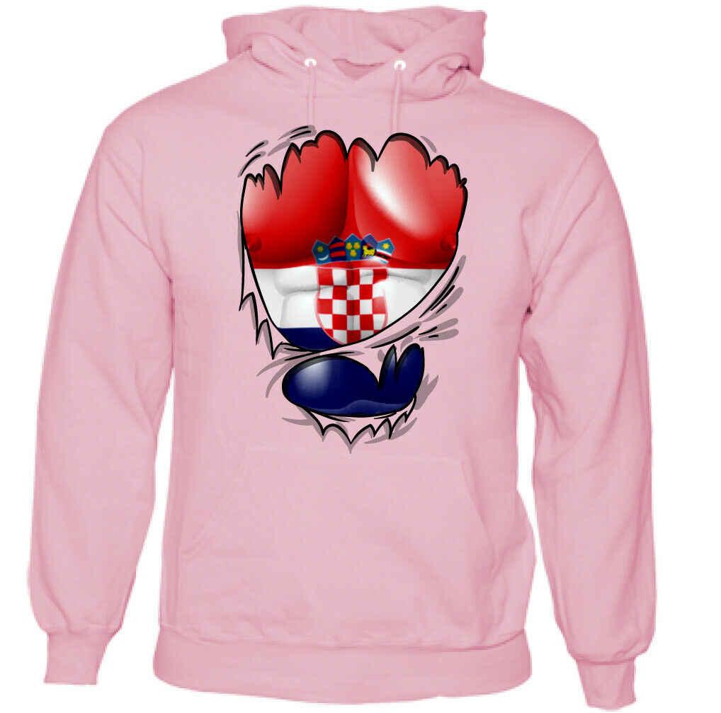 Ripped Bandeira Croata Mens Croata Statehood Dia Kit de Futebol Ginásio Topo Do Hoodie