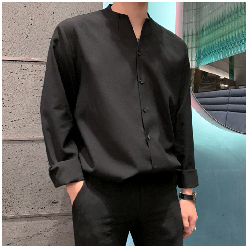 IEFB /men's wear 2020 autumn  casual stand collar solid color shirt for male Personality Trend Handsome Long Sleeve Tops 9Y899 4