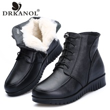 DRKANOL 2020 Women Winter Snow Boots Classic Black Genuine Leather Thick Wool Fur Warm Ankle Boots Low Heel Shoes Women Boots