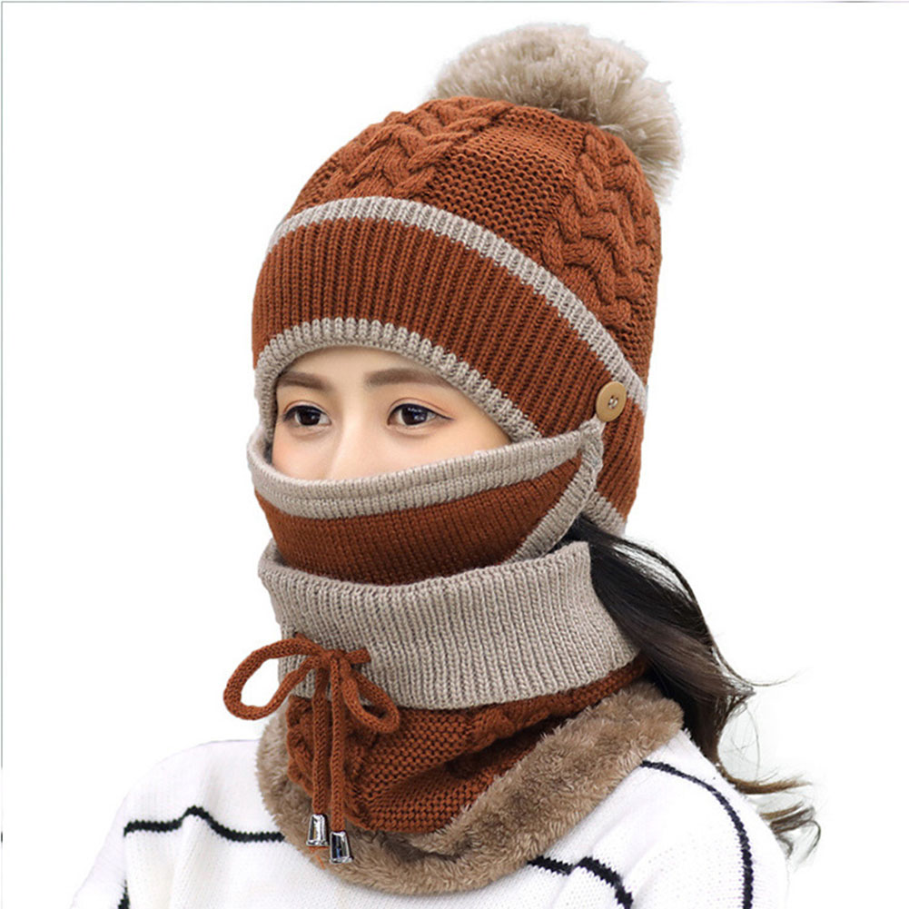 Women Knitted Beanie Scarf Hat Face Mask Set Snood Neck Winter Pompom Cap Thicken TC21