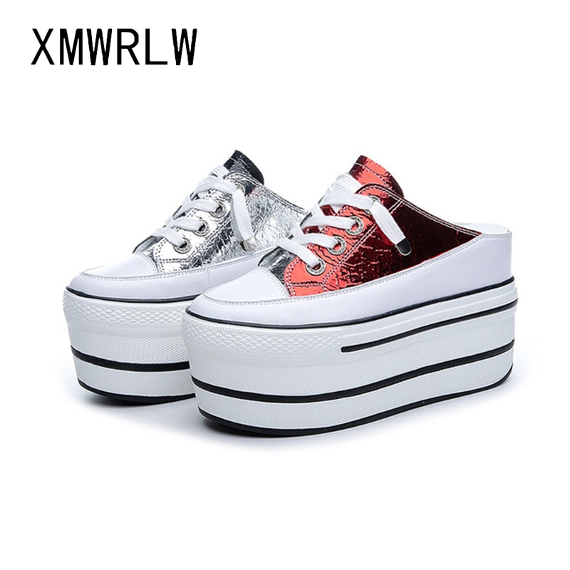 XMWRLW Split Leather Half Shoes For Woman 2020 Spring Summer Flat Platform Shoes Women Thick Sole Wedges Sneakers Women Shoe