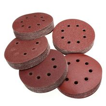 цена на 100Pcs 5in Sander Disc 60/80/100/120/240 Grit Sandpaper Sheet Hook Loop Sanding Disc Sanding Disk for Sandpaper Grinding Disc
