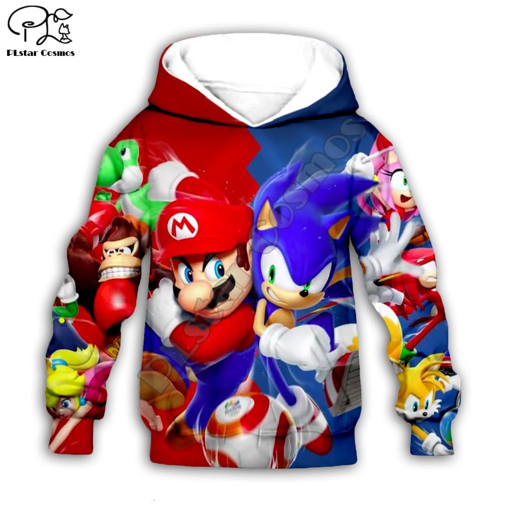 Super Sonic anime 3d Hoodies Children zipper coat Long Sleeve Pullover Cartoon Sweatshirt Tracksuit Hooded/family