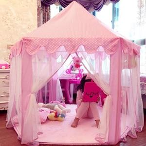 Image 1 - Children Garden Hut Princess Pink Castle Fabric Tents Lodge Girls Boys Outdoor Folding Play Tent Lodge Child Ball Pool Playhouse