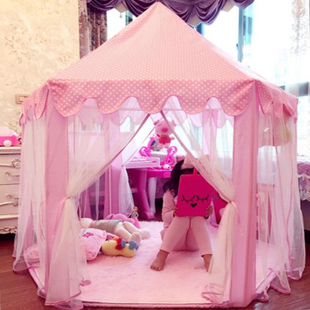 Children Garden Hut Princess Pink Castle Fabric Tents Lodge Girls Boys Outdoor Folding Play Tent Lodge Child Ball Pool Playhouse
