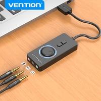 Vention-tarjeta de sonido externa USB a 3,5mm, adaptador de Audio USB a auriculares, micrófono para Macbook, ordenador, portátil, PS4