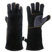 New Extreme Heat&Fire Resistant Gloves Leather with Stitching Mitts Perfect for Fireplace Stove Oven Grill Welding Bbq Mig Pot H-in Haushalts-Handschuhe aus Heim und Garten bei