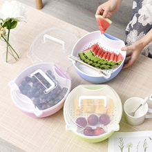 Double fruit bowl, drain basket, candy box ried plate basket  plastic storage vegetables kitchen containers