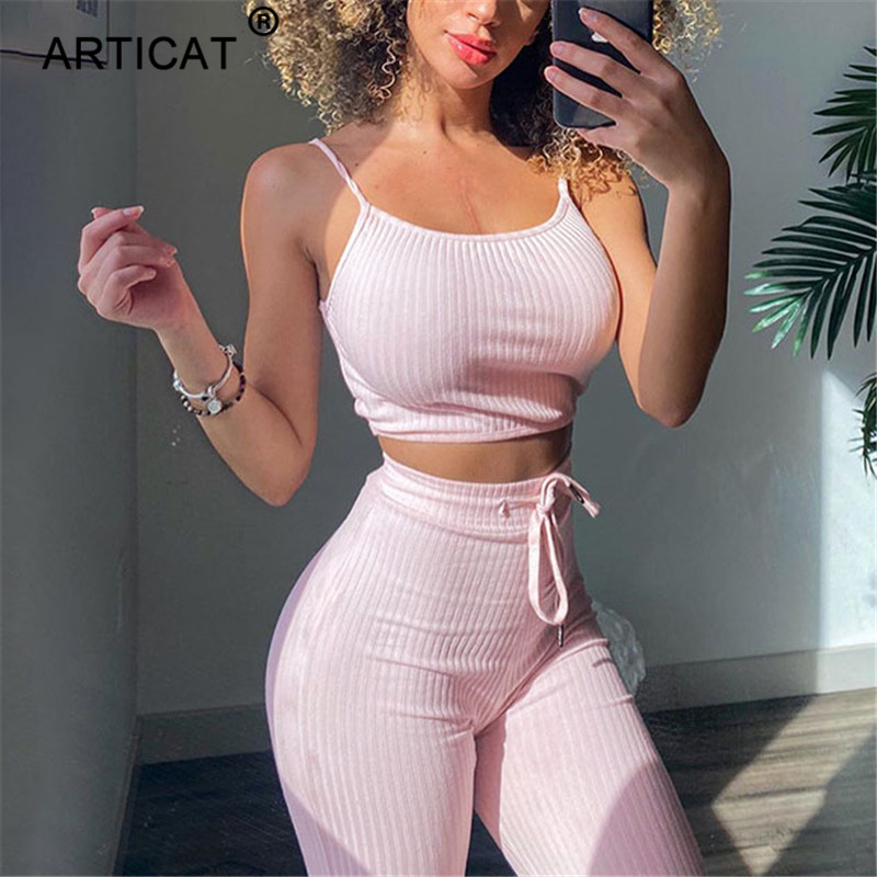Articat Ribbed Knitted Two Piece Set Women Short Crop Tops And Wide Leg Pants Tracksuit Female Casual 2 Piece Set Fitness Wear