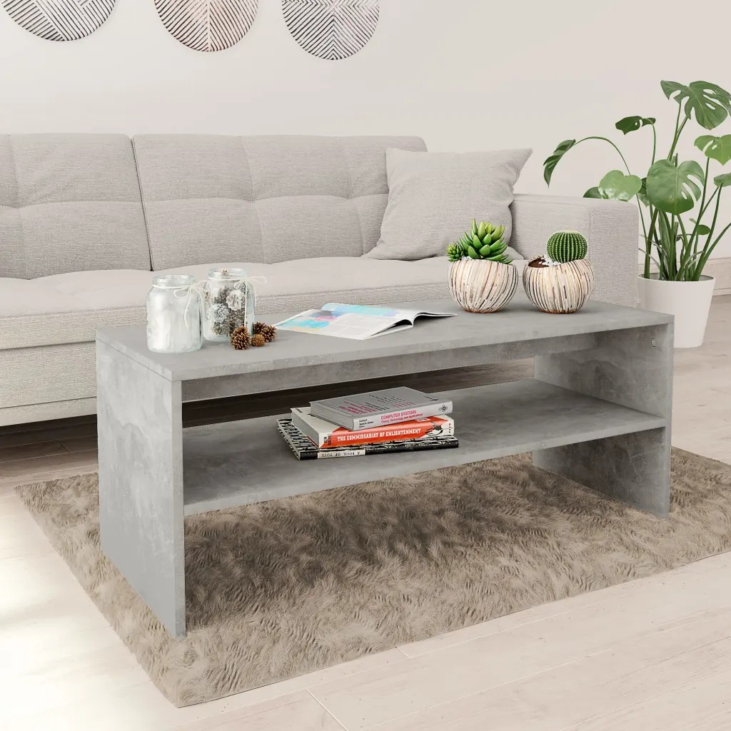 VidaXL Coffee Table Concrete Grey 100 X 40 X 40cm Chipboard 800130