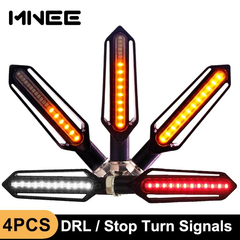 4PCS 24LED Turn Signals Tail Light Motorcycle LED Flowing Water Flashing Blinker Brake Running Light DRL Flasher Tail Lamp