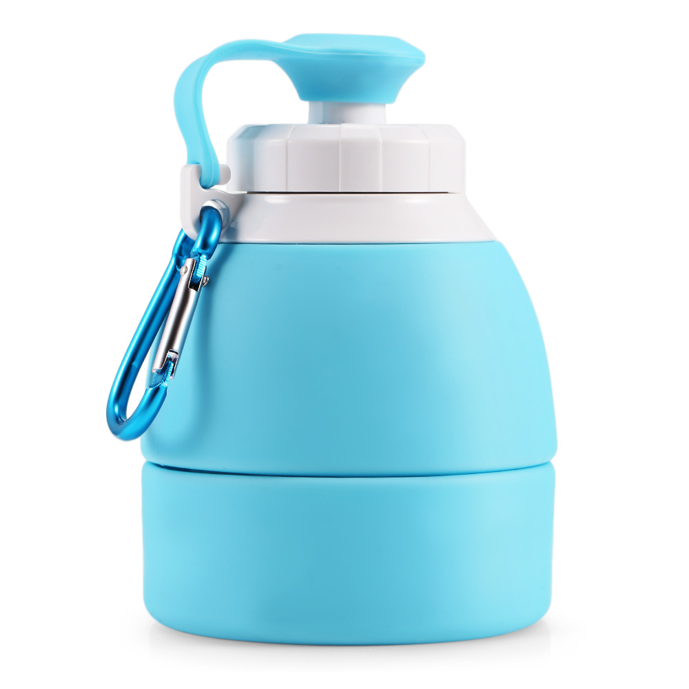 H76f264fe80564e36be5dd426a25d1564N 500ML Portable Silicone Water Bottle Retractable Folding Coffee Bottle Outdoor Travel Drinking Collapsible Sport Drink Kettle