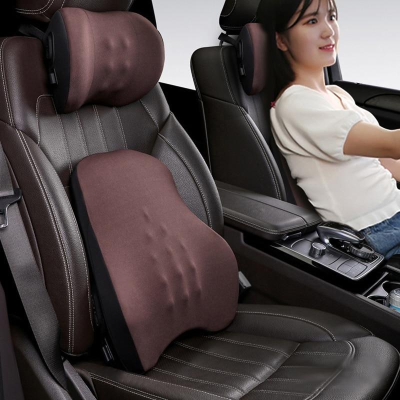 Car Neck Electric Massage Pillow Waist Memory Foam Car Headrest  Auto Seat Head Support Lumbar Support For Office Chair Cushion