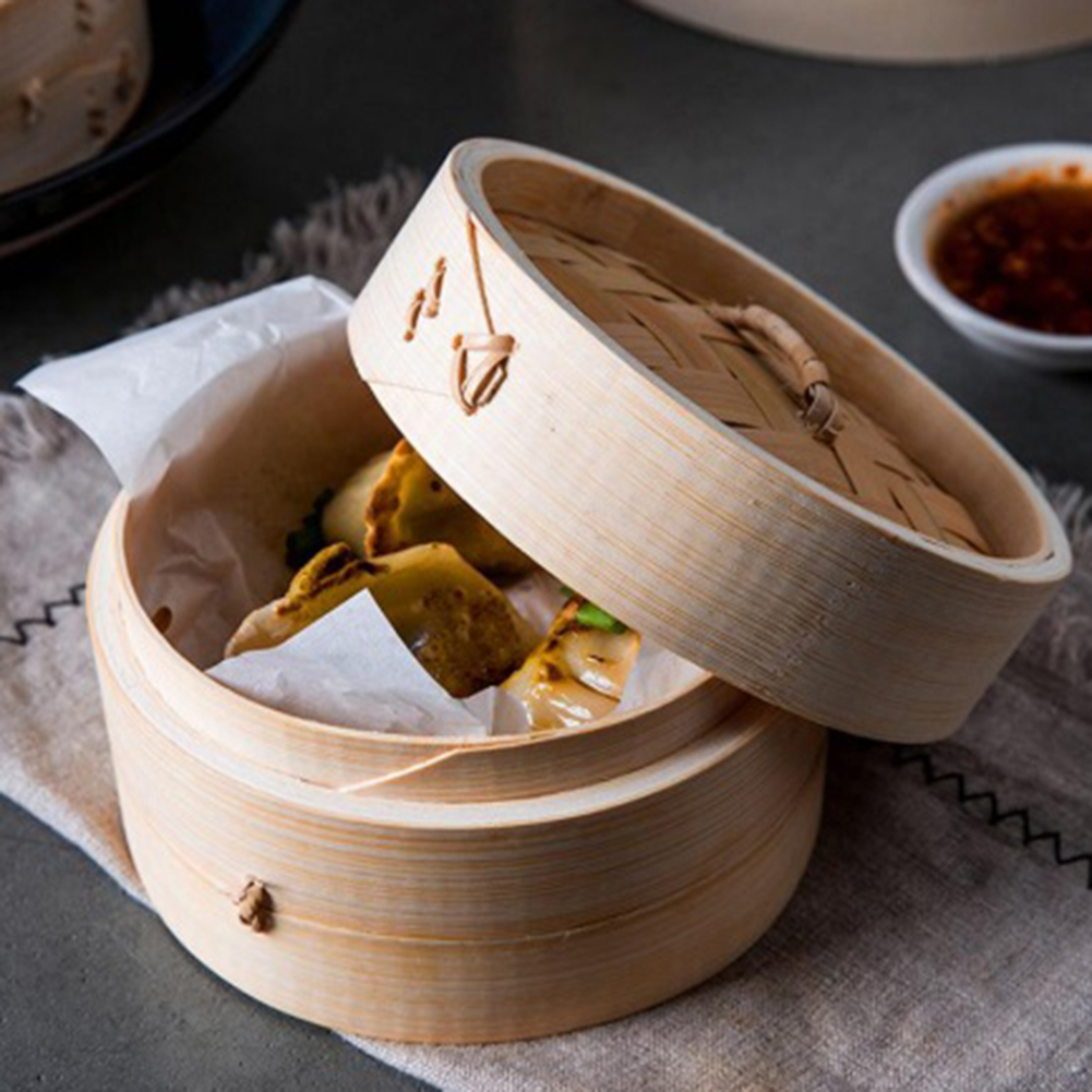 Bamboo Steamer One Cage+One Cover Fish Rice Vegetable Basket Set Kitchen Cooking Tools Dumpling Steamer Steam Pot