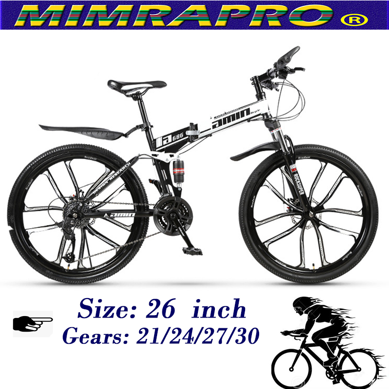 MIMRAPRO White 26 Inch Folding Bike High-carbon Steel Mountain Bike Bicycles Can Choose 21/24/27/30 Speed Disc Brakes MTB Bikes