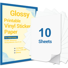 10 Sheets Printable Vinyl Sticker Paper 216x279mm Glossy Self-Adhesive Printer Paper for Inkjet Printer DIY Decals Gift Crafts