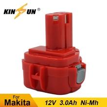 KINSUN Replacement Power Tool Battery 12V 3.0Ah Ni-Mh for Makita Cordless Drill Screwdriver PA12 1220 1222 192598-2 6271DWE pa12 p12a