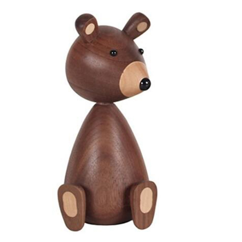 New-Little Bear Walnut Wood Ornaments for Decor Squirrel for Furniture Walnut Wood Crafts Shipping Small Gifts Wood Bear Toy Orn image