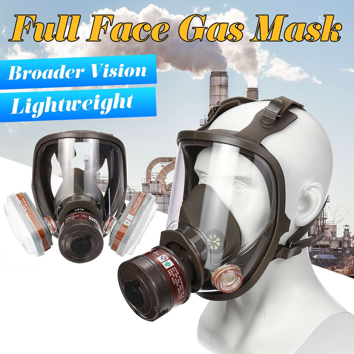 Facepiece-Painting-Spraying-Respirator FILTER Gas-Mask Full-Face 6800 Adjustable  title=