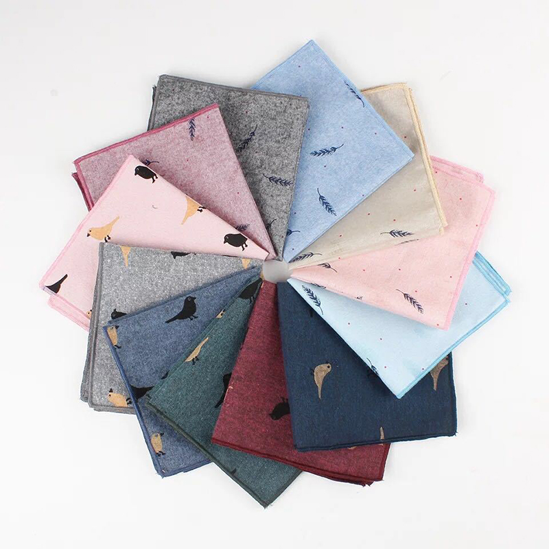 Men Pocket Square Printed Bird Handkerchief Feather Soft Light Elegant Handkerchief 24*24cm Cartoon Cute Male Handkerchief