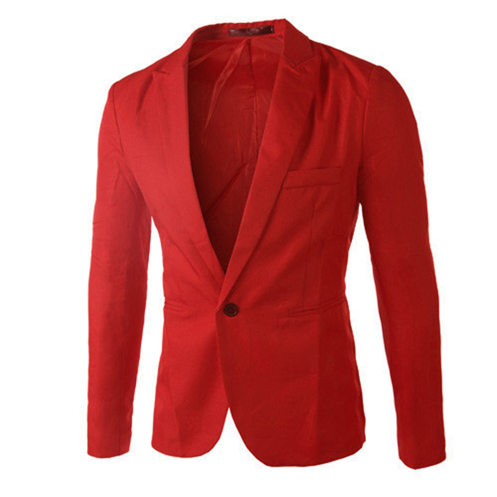 Blazer Jacket Suit Coat Slim-Fit Mens Casual Fashion Tops Charm One-Button-Suit High-Quality title=