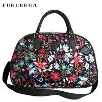 Leder Frauen Reisetaschen Handtaschen Neue Mode Tragbare Hand Fitness Floral Seesack Wasserdichte Wochenende Tasche Für Dame XA790WB