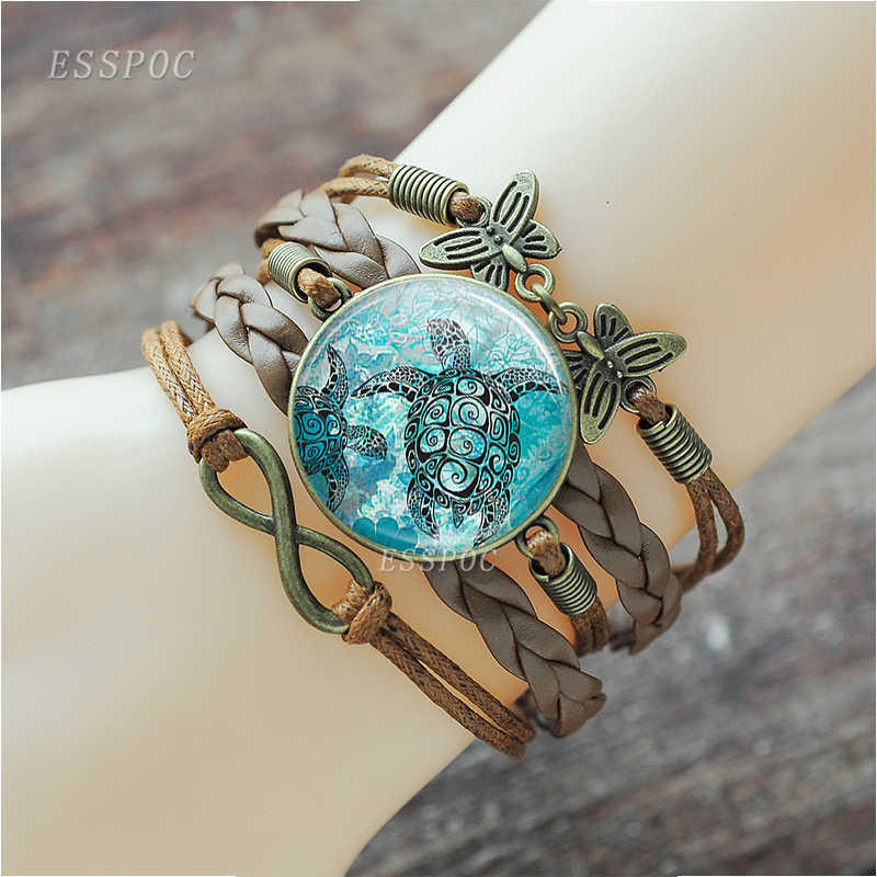 Sea Turtle Octopus Dolphin Starfish Multilayer Braided Infinity Bracelet Anklet Punk Style Men Women Fashion Turtle Jewelry