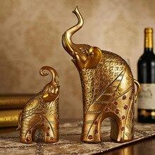 2PCS Luxury European Elephant Figurine Livingroom TV Cabinet Deer Statues Crafts Home Furnishing Decoration Desktop Ornament Art