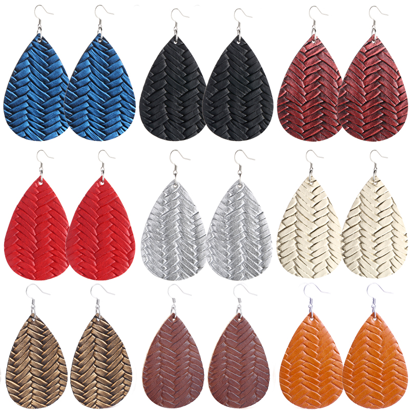 New Teardrop Leather Earrings Petal Drop Earrings Antique Lightweight S925 Carved Stainless Steel Earrings For Women Gifts