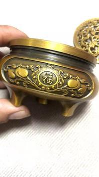 Brass Handle sculpture incense burner lotus incense Desk Decoration