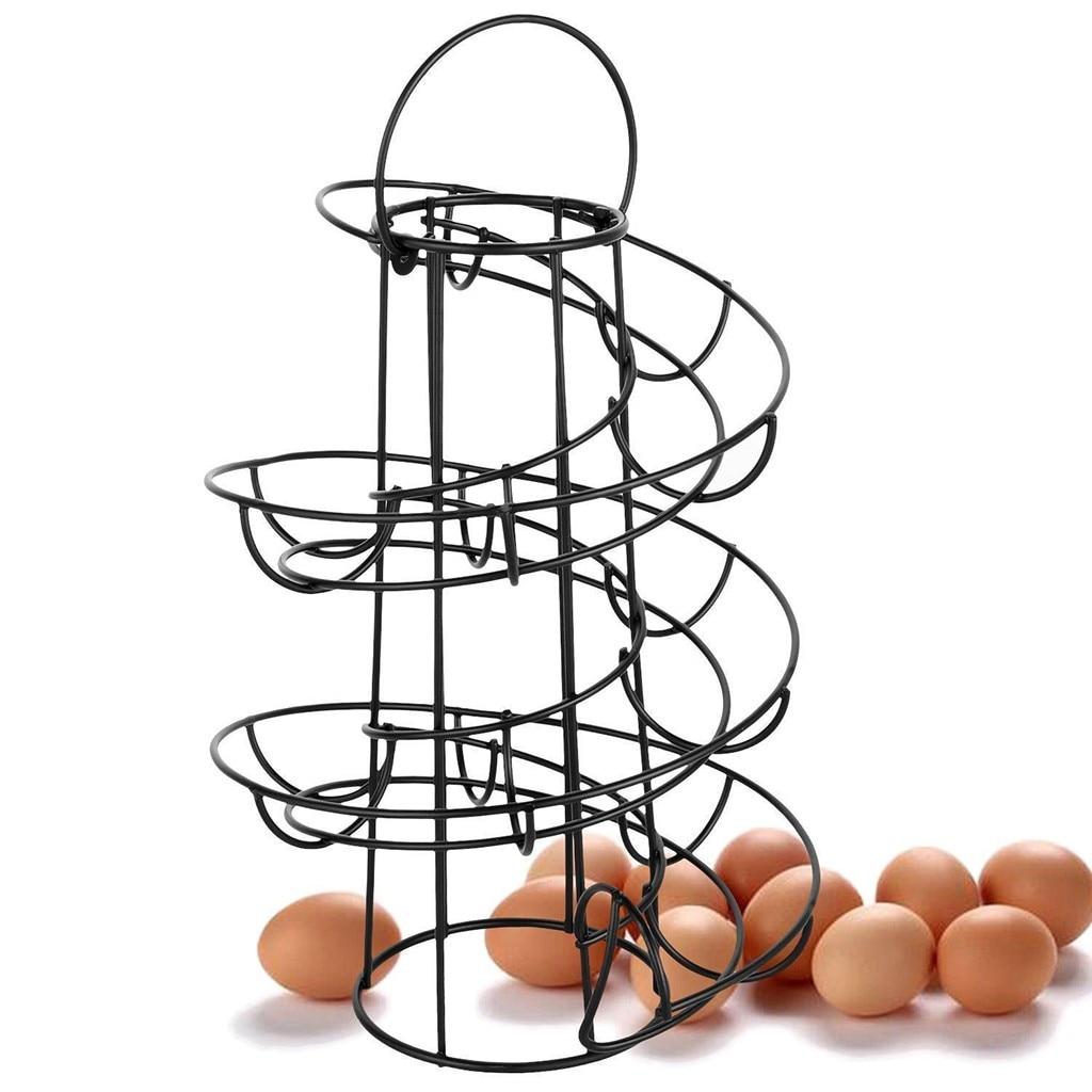 Egg Skelter Deluxe Spiraling Dispenser Rack Basket Storage Space Up To 24 Multi-functional Rack Storage Kitchen Tool