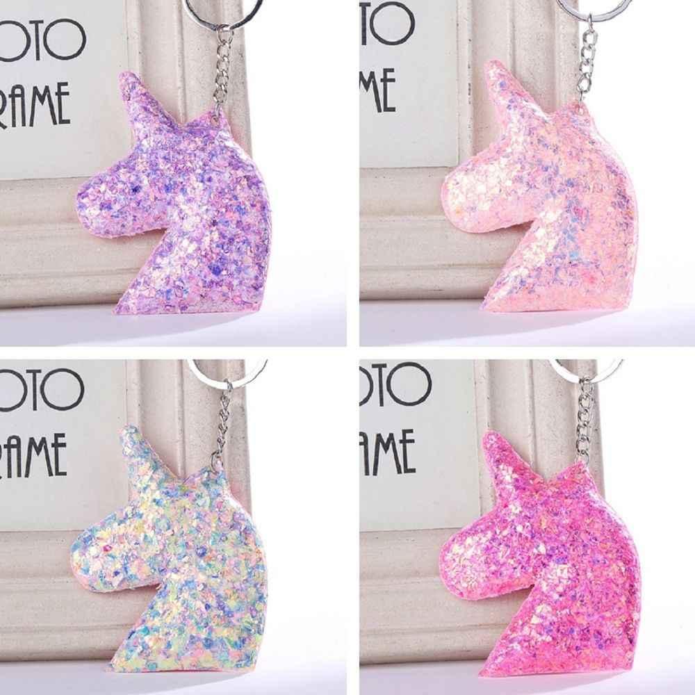 Lantejoulas amor brilhante reflexivo dos desenhos animados chaveiro glitter cavalo chaveiro para mulheres meninas bolsa pingente carro chaveiros jóias