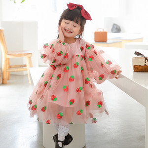 Платье с клубничкой для маленьких девочек; Детская одежда; Дизайнерские платья принцессы из тюля с блестками для малышей; Одежда для подростков; Новинка 2021 года; Костюм