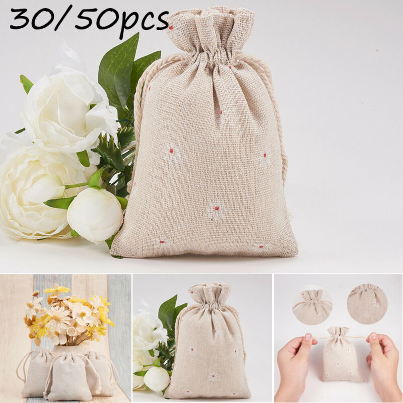 Women Small Cloth Bag Handmade Cotton Linen DrawString Storage Package Christmas Gift PouchTea Candy Food Gift Travel 30/50pc