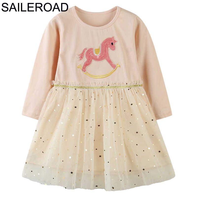 Kinder Baumwolle Mädchen Pony Cartoon Langarm Kleider Casual Frühlingskleid
