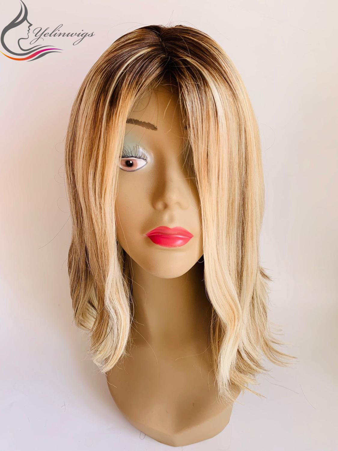 Fashion Blonde Color Dark Rooted European Hair Jewish Kosher Wigs Unprocessed Natural Wavy Hair Lowlight Color