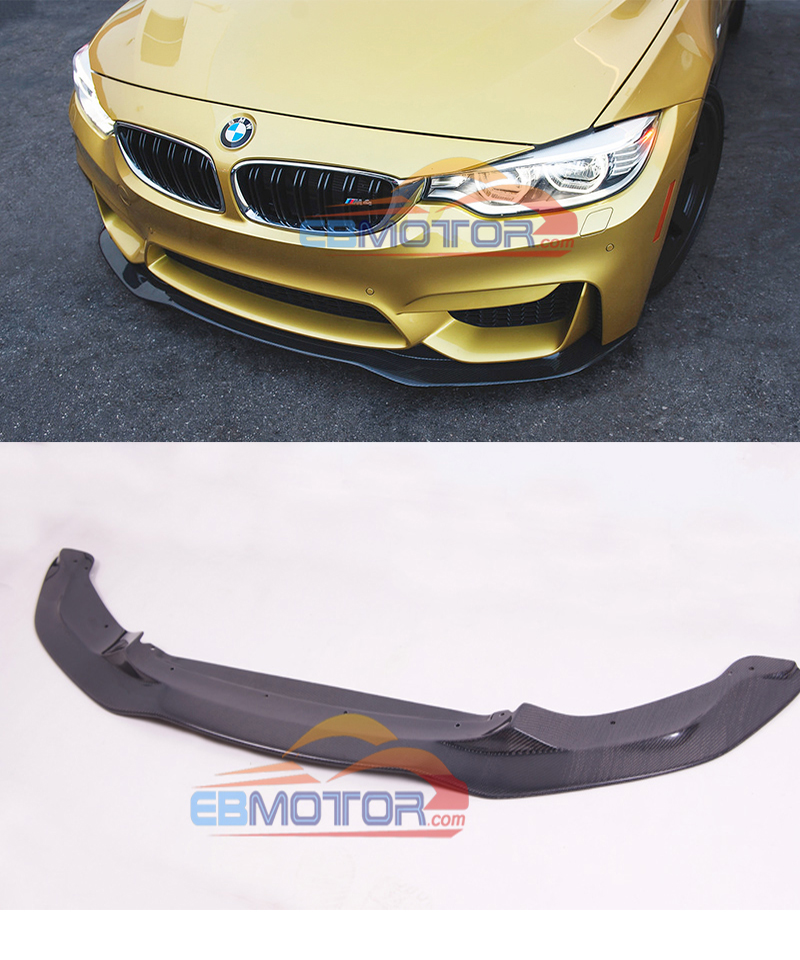 PS Style Real Carbon Fiber Front lip spoiler For BMW F80 M3 F82 M4 2014UP B451 image
