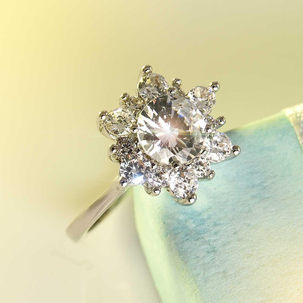 2019 moda grande anel de zircônia moda jóias de casamento feminino anel de noivado feminino cristal anel de prata festa novo presente