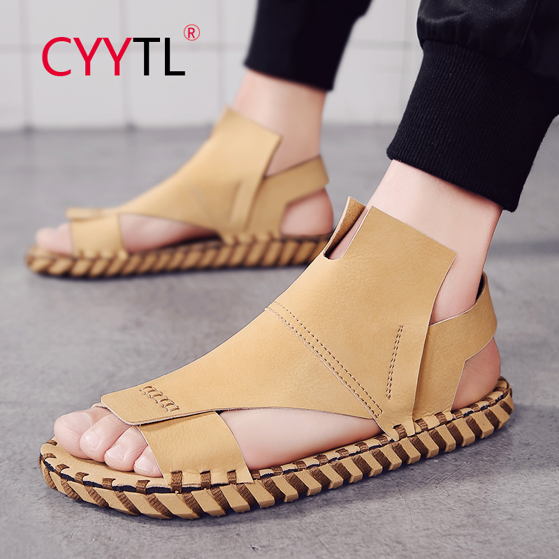 CYYTL Men Fashion Beach Sandals Summer Leather Open Toe Shoes Platform Non-slip Slippers Hand Stiching Hommes Sapatos Masculino
